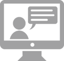 A graphic of a computer monitor with a person conducting a webinar